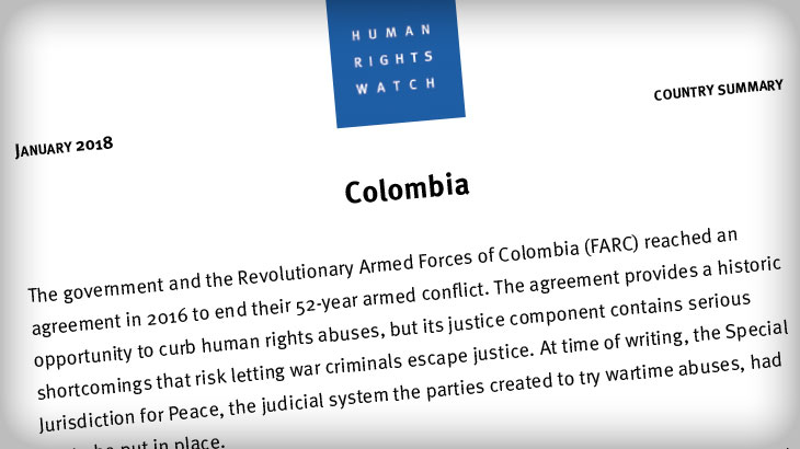 Image for HRW Colombia Report 2018 – January 2018