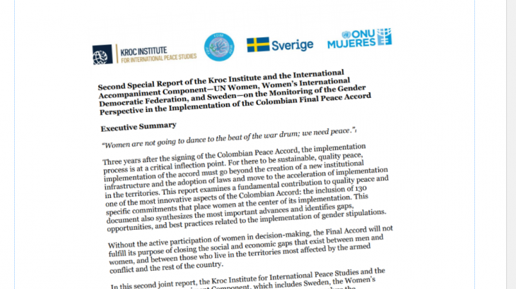 Image for Kroc Institute, UN Women, FDIM & Sweden –  Joint Report 2019