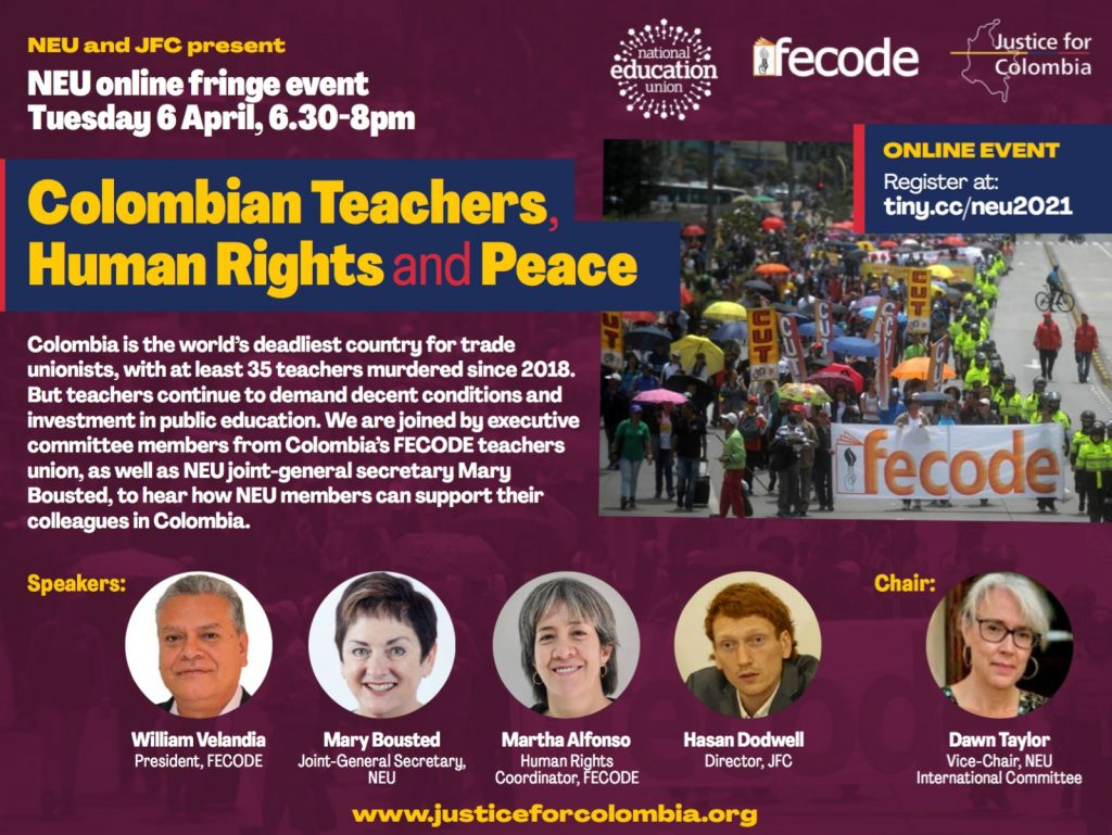 Image for Video: 'Colombian teachers, human rights & peace', NEU fringe event with JFC