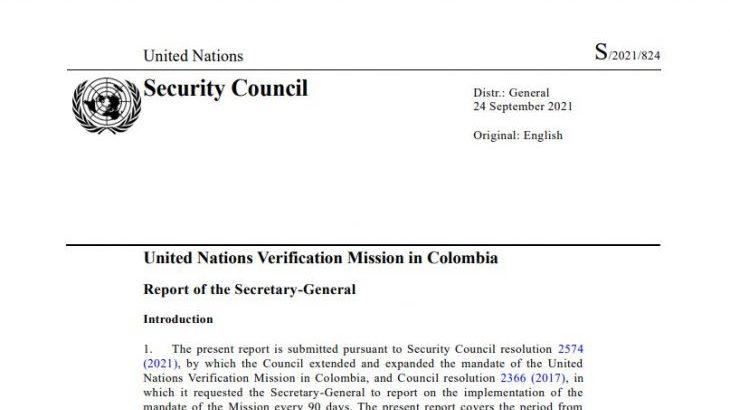 Image for UN Verification Mission report – September 2021